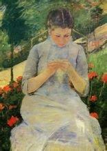 《花园里做针线活的少女》玛丽·卡萨特