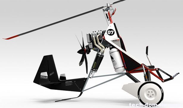 旋翼机和直升机简直一模一样:它们头顶都有一副大直径的旋翼,在飞行中依靠旋翼的旋转产生升力。但是除去这些表面上的一致性,旋翼机和直升机却是两种完全不同的飞翼机。 旋翼机实际上是一种介于直升机和飞机之间的飞行器,它除去旋翼外,还带有一副垂直放置的螺旋桨以提供前进的动力,一般也装有较小的机翼在飞行中提供部分升力。旋翼机与直升机的最大区别是,旋翼机的旋翼不与发动机传动系统相连,发动机不是以驱动旋翼为飞机提供升力,而是在旋翼机飞行的过程中,由前方气流吹动旋翼旋转产生升力,象一只风车,旋翼系统仅在起动时由自身动力驱动