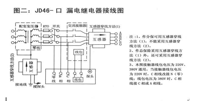 1.如为新装,不能正常投运,应检查线路接线是否正确,被保护线路是否与其它线路混装,变压器中性接地线是否接好,泄漏电流是否超过额定值。 2.如安装一段时间后投运不正常,则应先分析是线路原因,还是保护器本身故障,可先拔下零序电流互感器插头或切除输出线路,再重新开机送电,如开面试送电跳闸10~30秒能自动合闸送电,则保护器本身正常;如在保护器输入电压正常情况下,开机无反应或试送电跳闸10~30秒不能自动重合闸,则为保护器本身故障 接线图: