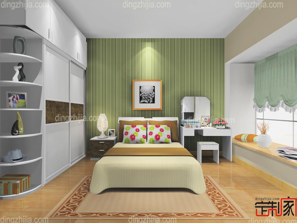 卧室中色调柔和的布艺床头庄重典雅而不乏轻松浪漫的感觉,与灰紫色暗